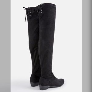 Shoes - Black Faux Suede Over-the-knee Boot Lace-up Top 10